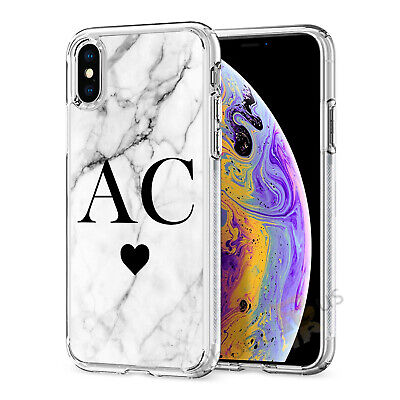 Initials Phone Case Personalised Marble Gel Cover For Apple iphone 7 8 X 11 019