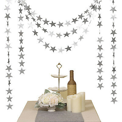 4M Twinkle Twinkle Little Star Paper Garland Glitter Baby Shower Party Decor Ark