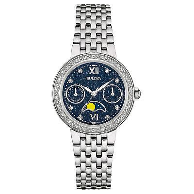 Bulova Women's Quartz Moon Phase Diamond Accent Silver-Tone 31mm Watch 96R210