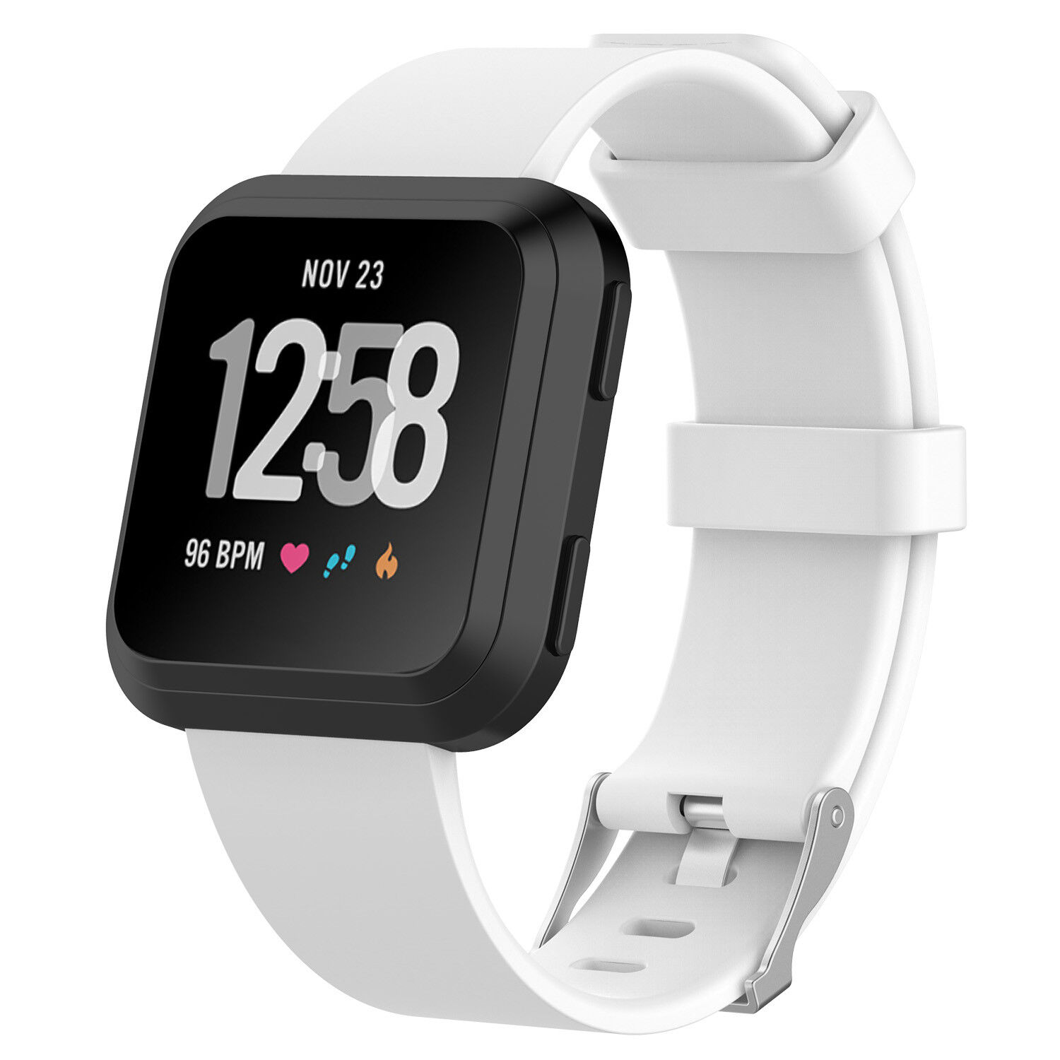 Replacement Silicone Rubber Classic Band Strap Wristband For Fitbit Versa Watch White