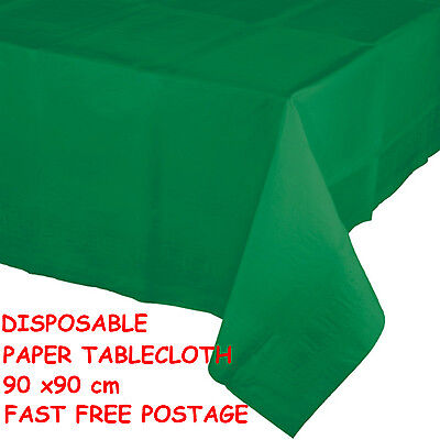 GREEN SQUARE DISPOSABLE PAPER TABLECLOTH / COVER WEDDING BIRTHDAY PARTY 90X90CM - Paper Wedding Tablecloths