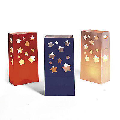 Lot of 12 Patriotic RED WHITE & BLUE 4th of July USA Star Cut Out Luminary Bags