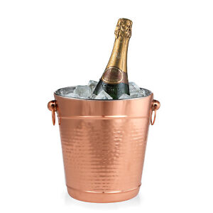 Copper Stainless Steel Champagne Bucket - Hammered Wine Bottle Cooler Ice Bucket