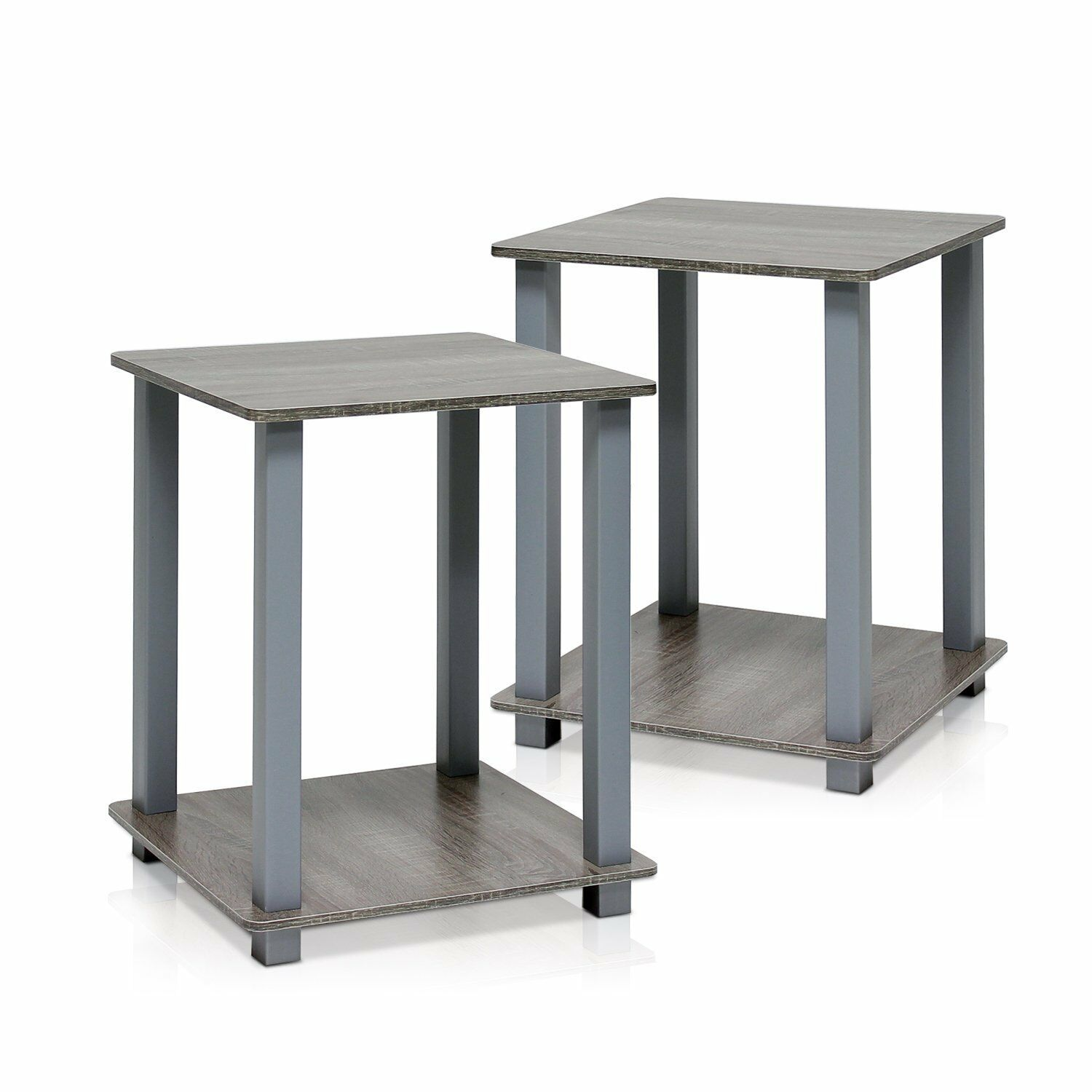 Simplistic 2 Piece End Table Set, French Oak / Grey