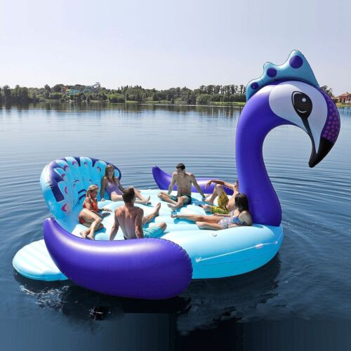 Huge Peacock 6 Person Giant Floating Party Bird Island Float Lounge Lake Raft