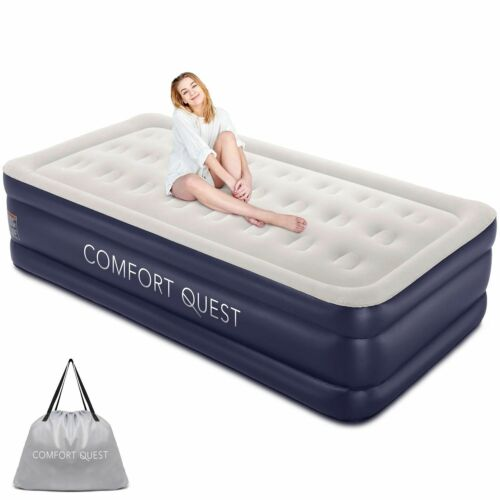 Comfort Quest Twin Air Mattress With Built-In Pump, Inflatable Blow Up Air Bed