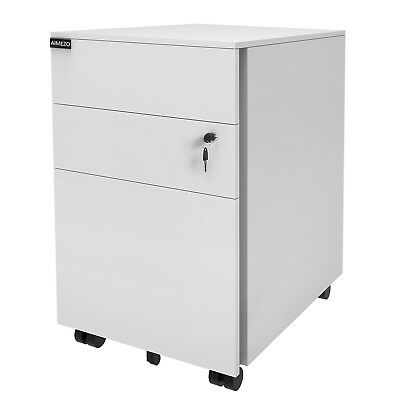 3 Drawer Metal Mobile File Cabinet Filing Organizer Home Office With Lock Wheels