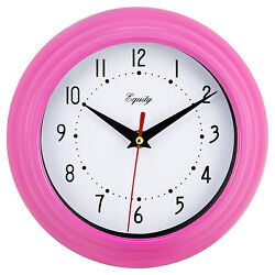 25017 Equity by La Crosse 8 Plastic Analog Wall Clock - Pink