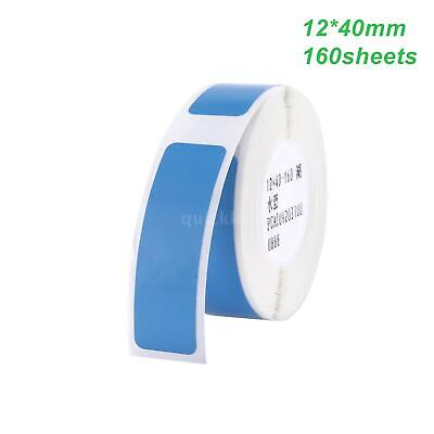 Thermal Paper Label Sticker Printing Waterproof Tear Resistant 12x40mm 160x Blue