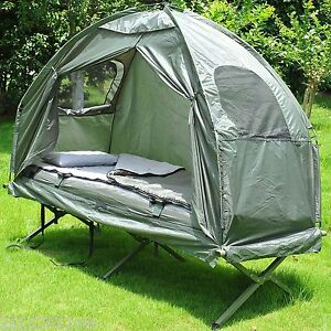 Outsunny-Deluxe-Portable-Hiking-Tent-Camping-Bed-Cot-Combo-w-Sleep-Bag-Mattress