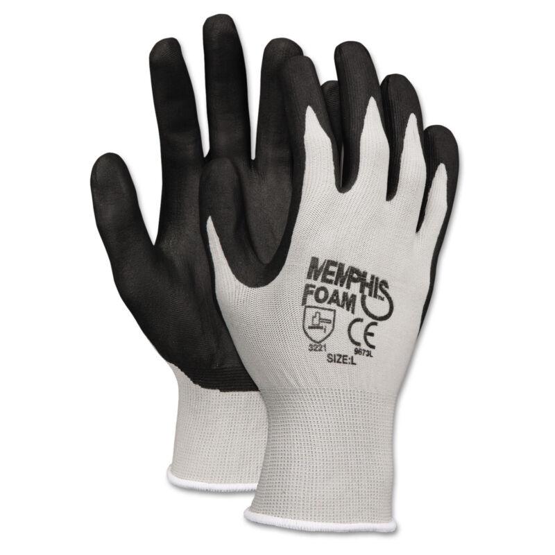 Memphis Economy Foam Nitrile Gloves Medium Gray/Black 12 Pairs 9673M