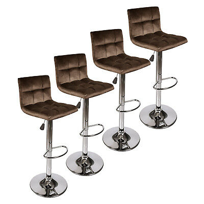 Set Of 4 Velvet fabric Bar Stool Modern Swivel Hydraulic Adjustable Chair Brown