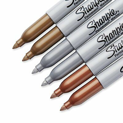 Sharpie Metallic Permanent Markers Gold Bronze Silver 6 Pc Fine Point Marker