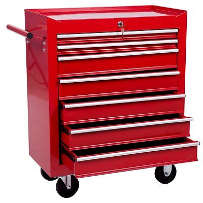 Merax 7 Drawer Tool Ministry Tool Box Storage Chest with Rolling Casters red