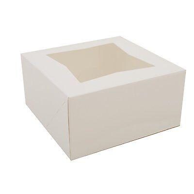 Pack Of 10 White 6x6x3 Window Bakery Or Cake Box