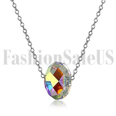 (Womens Aurora 925 Silver Chain Colorful Stone Crystal Promise Pendant Necklace)