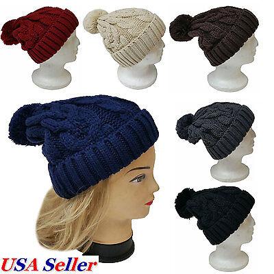 Pom Pom Knit Beanie Braided Color Plain Ski Cap Skull Hat Winter Warm Cuff