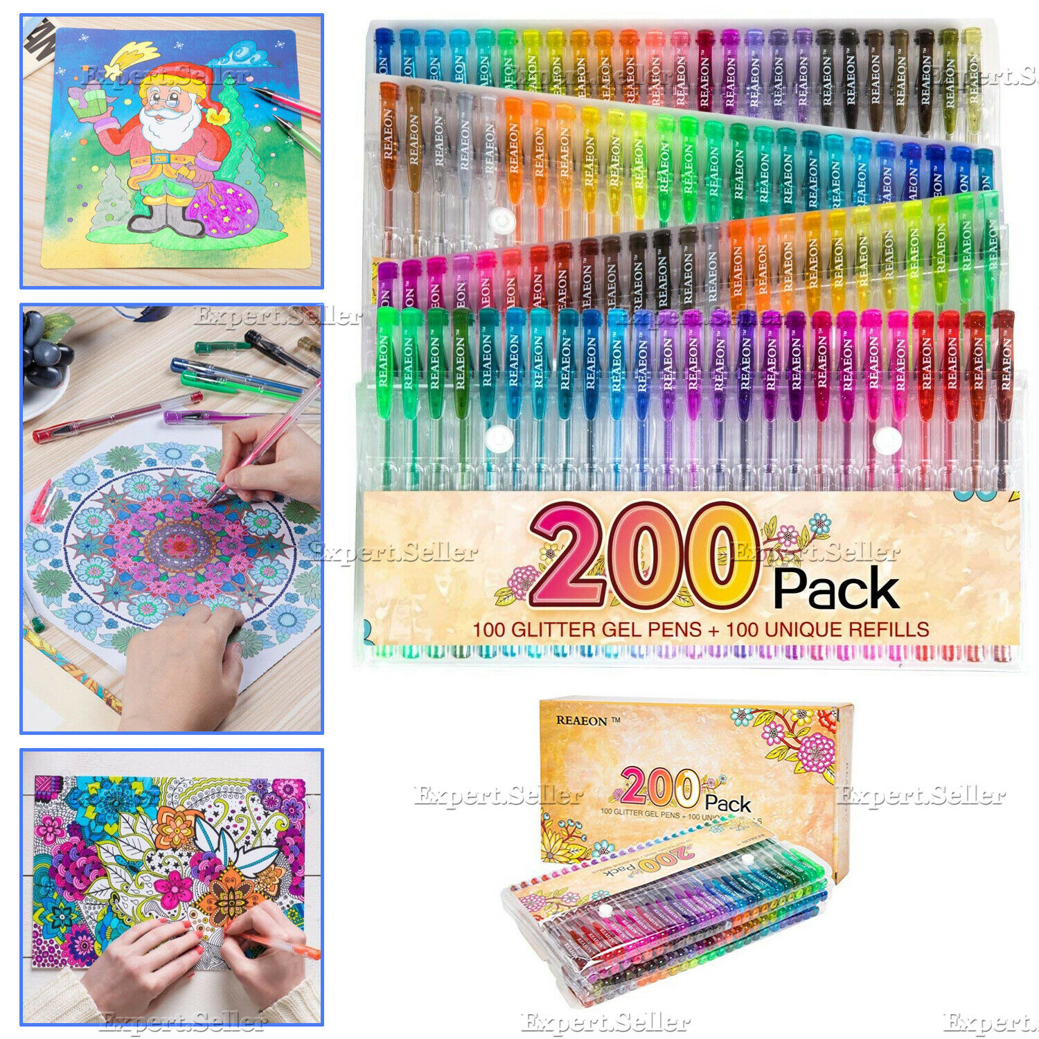 200 Gel Pens Refills Glitter Neon Set for Adult Coloring Books Colors Drawing