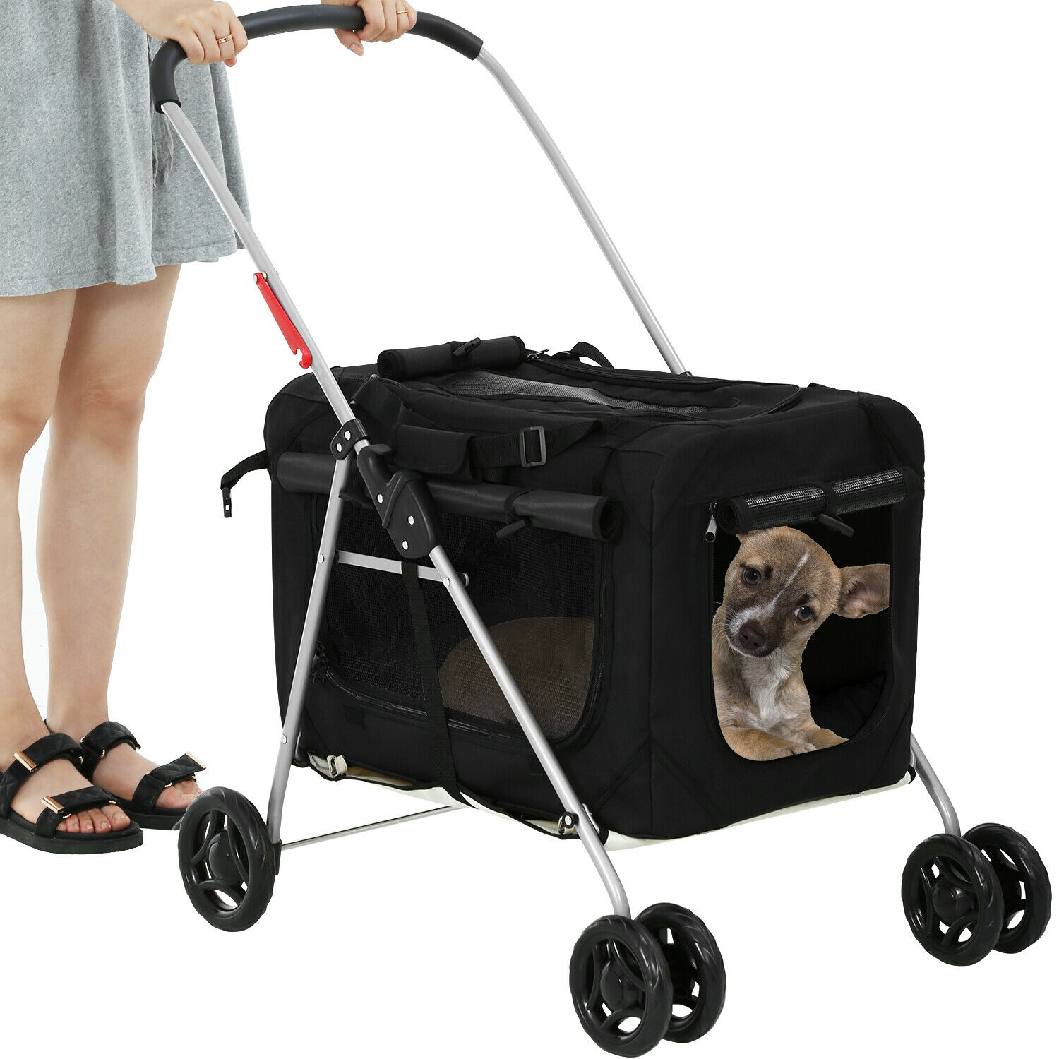Dog Stroller Cat Stroller Pet Carriers Bag for Small Medium Dogs Cats Travel Dog Supplies