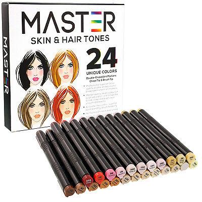 24 Color Master Markers Skin Hair Tone Set Dual Tip Chisel Brush Art Sketch Face