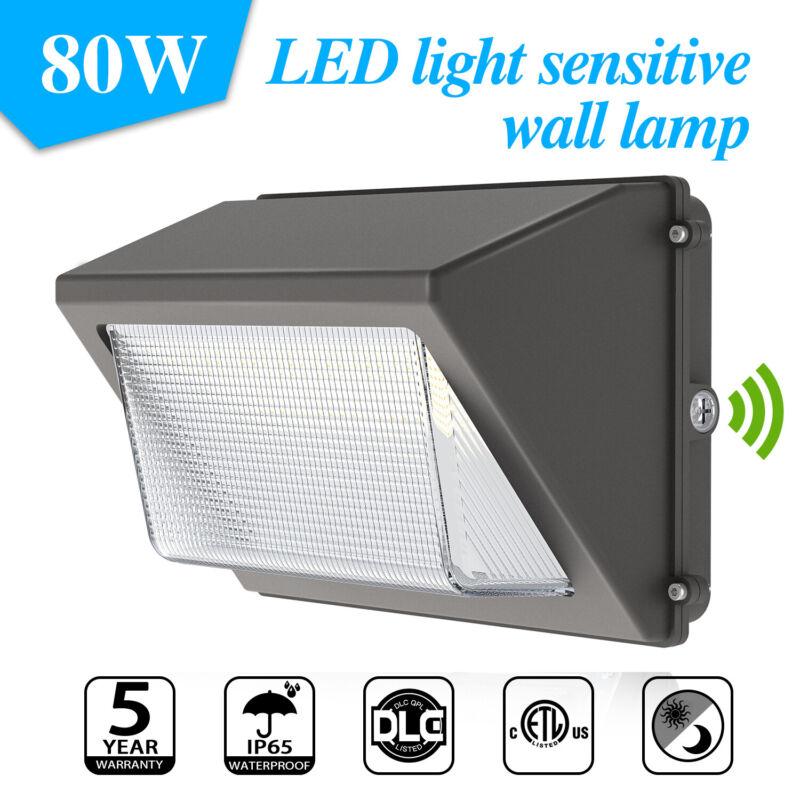 80W LED Wall Pack Light Garage Garden Outdoor Dusk To Dawn Light ETL DLC 5000K