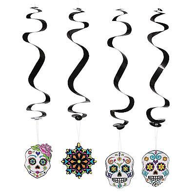 12 DAY OF THE DEAD SWIRLS HALLOWEEN MEXICAN FIESTA HANGING PARTY DECORATIONS  ()