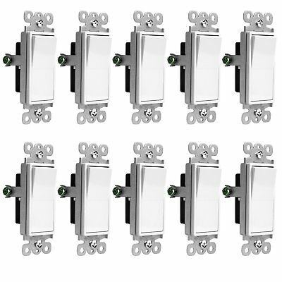 10 Pack Illuminated Rocker Paddle Switch Single Pole 15a Home Decor White