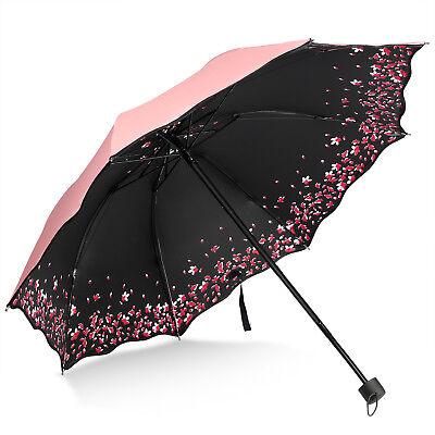 (Pink Sakura Windproof Umbrella Anti UV Sun/Rain Princess Folding Umbrella)
