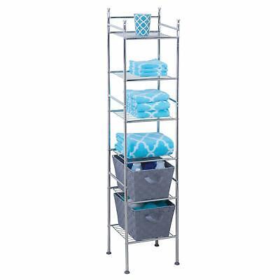 6-Tier 6ft Tall Chrome Plated Metal Freestanding Bathroom Shelf Space Saver Rack ()