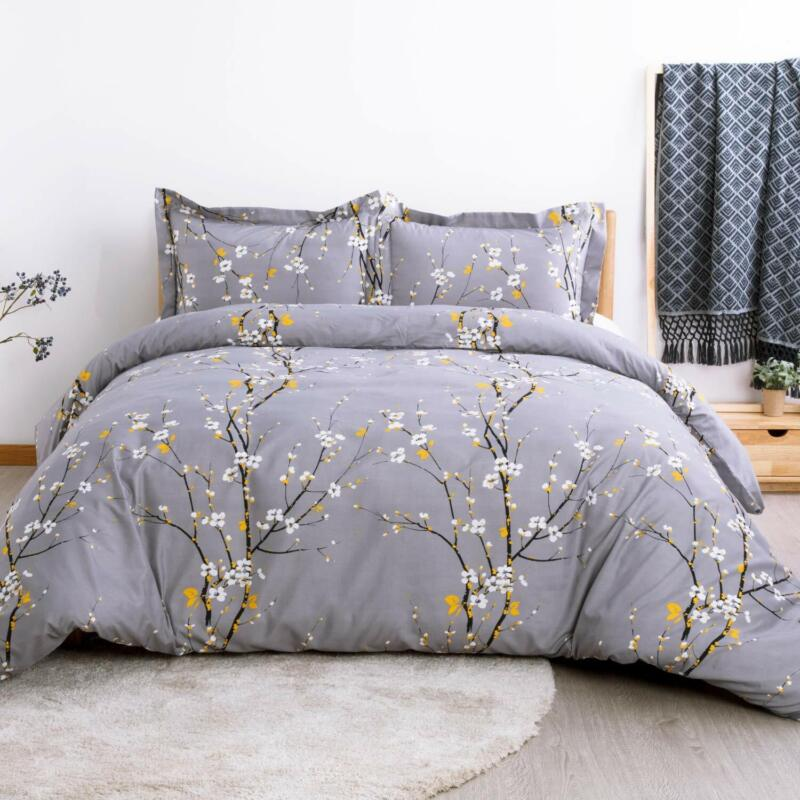 Bedsure Duvet Cover Set King Dark Grey Plum Blossom Pattern
