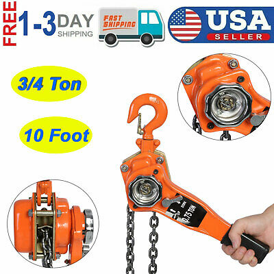 34 Ton 10 Foot Chain Lever Block Hoist Come Along Ratchet Lift Heavy Duty Tool