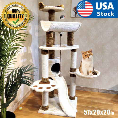 "57"" Cat Tree Scratching Condo Kitten Activity Tower Playhouse W/ Cave & Ladders"