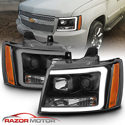 07-14 Chevy Suburban/Tahoe/Avalanche Black LED Swtichback Projector Headlights