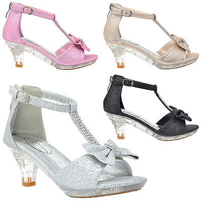 Girl's High Heel Dress Sandals Evening T-Strap Bow Rhinestone Toddler Kids Shoes](High Heel Shoes Kids)