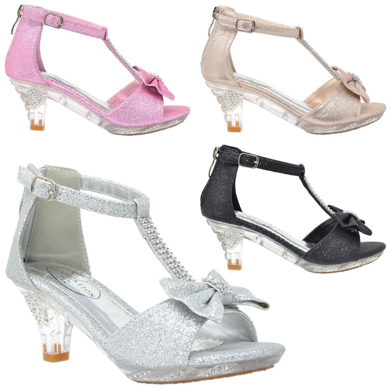 Girls Toddler Youth Rhinestone Bow Accent Kitten Heel Dress Pumps Silver