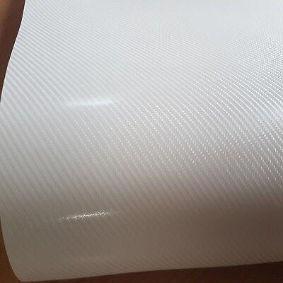 [22,20€/ m²]  Carbon Auto Motorrad Möbel Folie Weiß 4D Autofolie Klebefolie Wrap ()