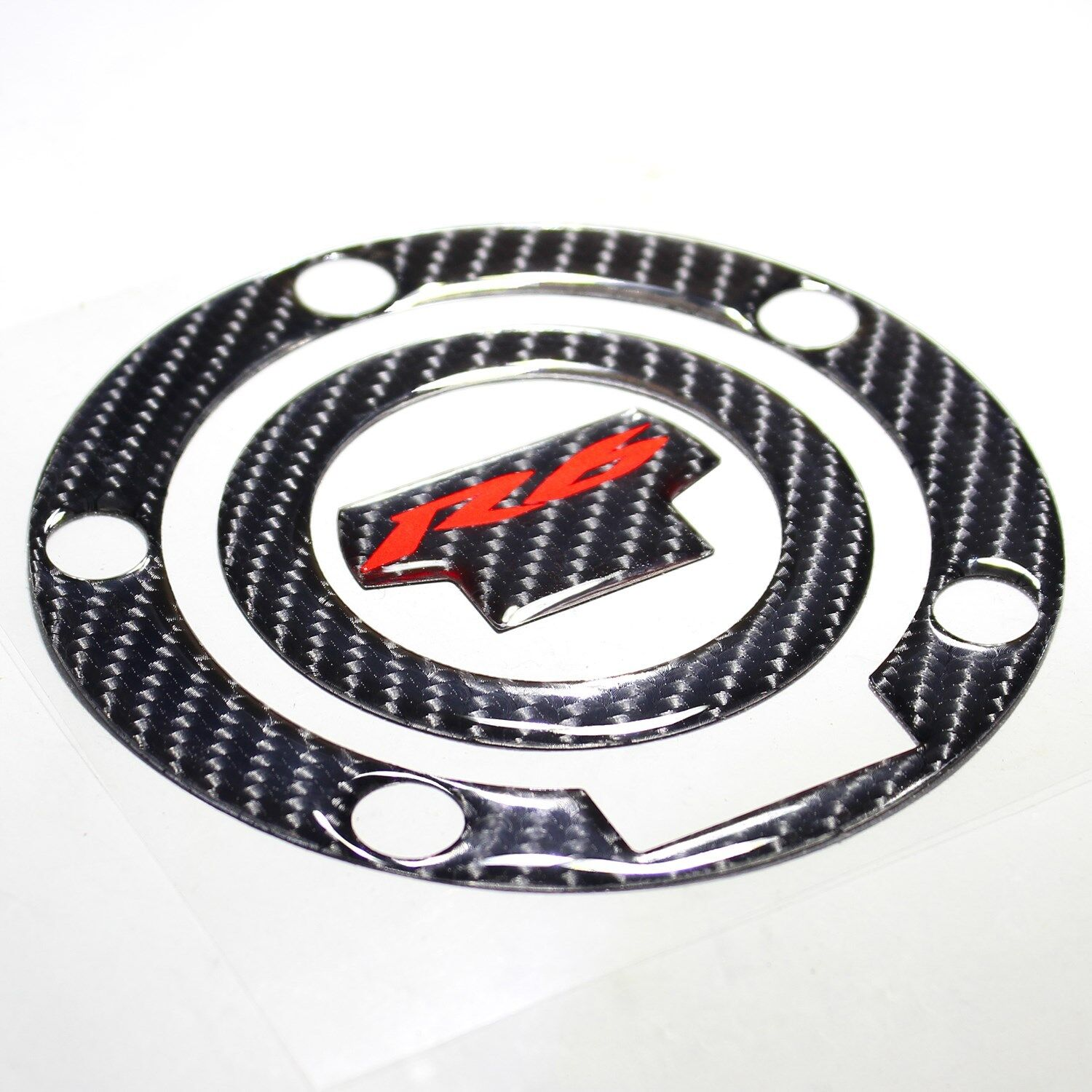 Real Carbon Fiber Red R6 Logo Gas Tank Fuel Cap Cover Guard 01-18 YZFR6//YZFR6S