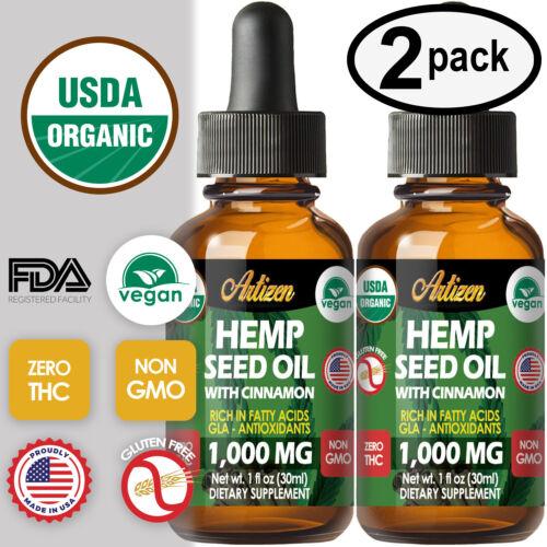 Cinnamon Hemp Oil Drops for Pain Relief, Stress, Sleep (PURE & ORGANIC) 1000mg