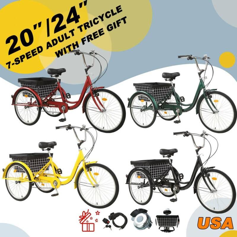 "Pro 24""/20"" 7 Speed Adult Trike Tricycle 3-Wheel Bike w/Bask"