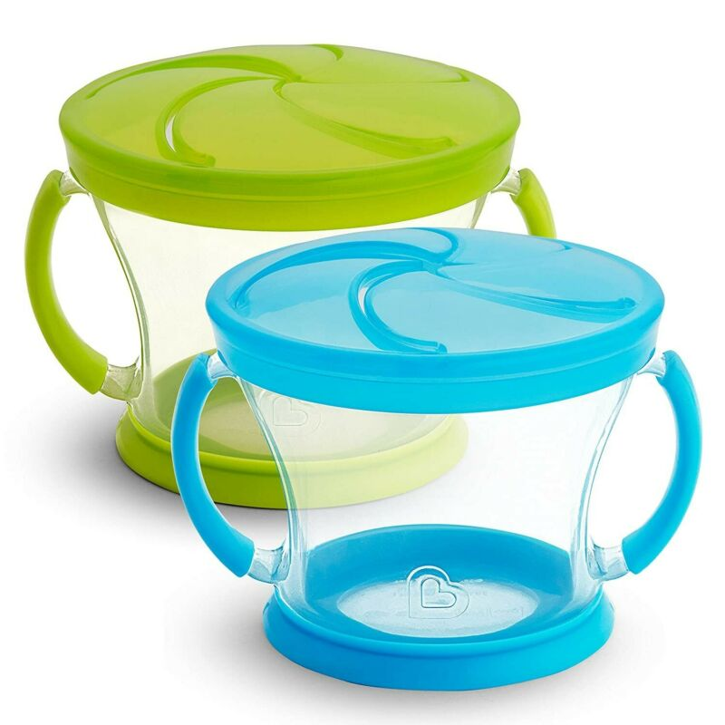 Munchkin Snack Catcher Snack Cup, 2 Pack, Blue/Green