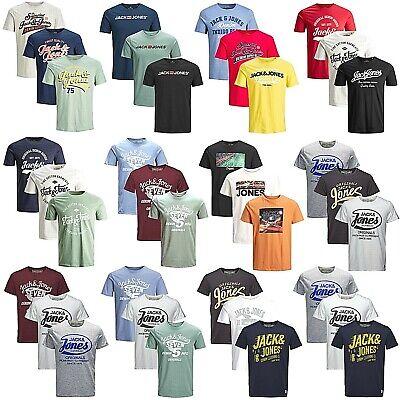 Print T-shirt (3er Pack Jack & Jones Herren T-Shirt Regular Slim Fit Rundhals Print kurzarm)