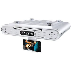 Under Cabinet CD Player AM/FM Radio Dorm Kitchen Digital Clock Timer Remote NEW