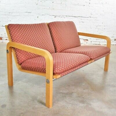 Vintage Modern Oak Bentwood and Chrome Two-Seat Settee or Bench Thonet Attribute Modern Oak Bench