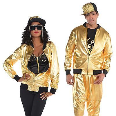 Gold Hip Hop Sparkly Jacket Adult Men Ladies 80s Rapper 1980s Fancy Dress - 1980s Outfit