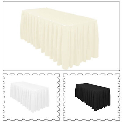 Tisch Rock Polyester Elfenbein Weiß Schwarz Hochzeitsparty Geschirr 14ft 17ft ()
