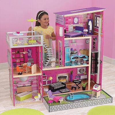 KidKraft Uptown Modern Stylish Wooden Dollhouse with Furniture | 65833