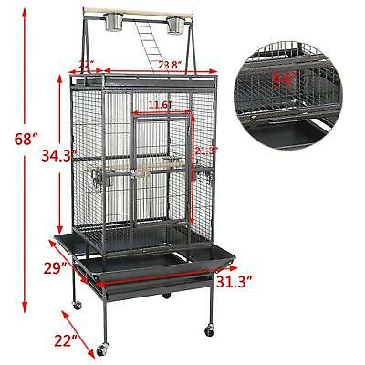 "68"" Bird Parrot Chinchillas Ferret Cage Bird Pet House Perch Stand Play W/Wheels"