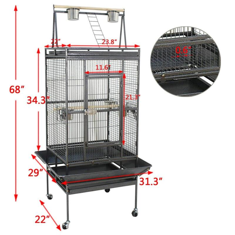 "Bird Cage 68"" Large Play Top Parrot Finch Cage Macaw Cockatoo Pet Supply"