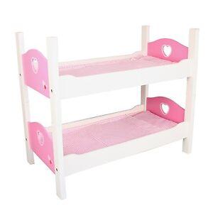 Etagenbett Holz Weiß/Pink Puppenbett 2 tlg. Stapelbett Puppen Bett mit Zubehör
