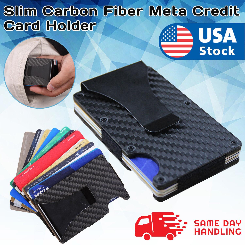 Slim Carbon Fiber Meta Credit Card Holder Clip Purse Money Wallet RFID Blocking Clothing, Shoes & Accessories
